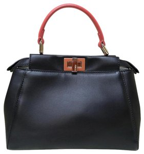 Fendi Mini Lambskin Tote Satchel in black