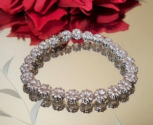 Bridal Cz White Gold Plated Sparkly Bracelet