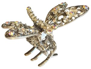 Firefly Insect Aurora Borealis Crystal Silver Hairclip