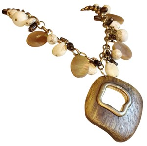 White House | Black Market White House Black Market Wooden Gold Necklace Strand Bead