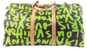 Louis Vuitton Brown and Green Travel Bag