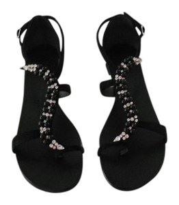 Giuseppe Zanotti Glamorous Luxurious Sparkle Made In Italy Black Sandals