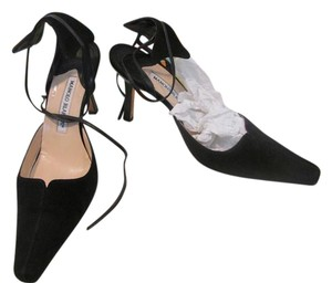 Manolo Blahnik Suede Tie Black Pumps
