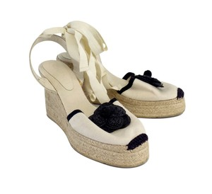 Chanel White Black Espadrille Wedges