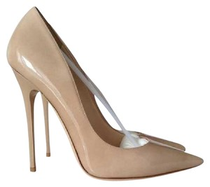 Jimmy Choo Anouk 120 Mm Heel Patent Leather Nude Pumps