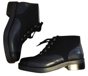 Chanel Boot Bootie Black Blue Boots