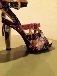 Angeleigh Anastasio Snakeskin multi/burgandy,gold,grey snake Sandals