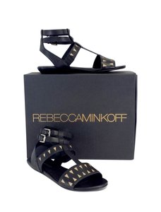 Rebecca Minkoff Barb Black Tan Leather Sandals