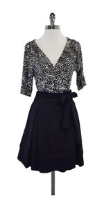 Diane von Furstenberg short dress Black White Print Wrap on Tradesy