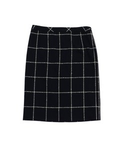 Escada Black White Tile Wool Pencil Skirt