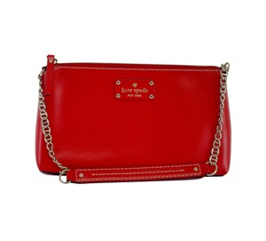 Kate Spade Red Leather Chainlink Hobo Bag