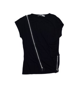 Sportmax Black Asymmetrical Zip T Shirt