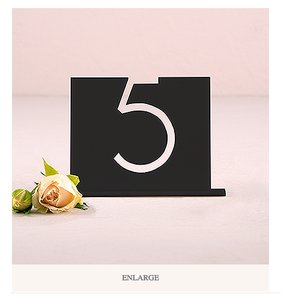 1-16 Black Acrylic Table Number - Top Aligned Style