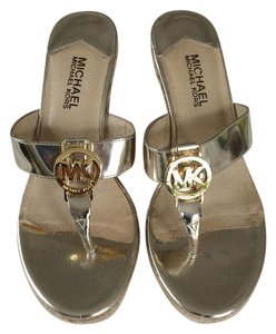 Michael Kors Rope Heel Thong Slip On Glamour Metallic Wedges