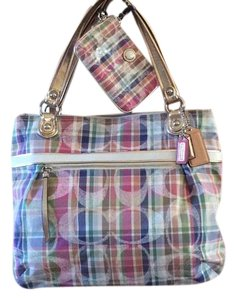 Coach Gold Leather Handles Tote in Madras print, multicolor