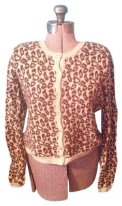 Moda International Beads Leopard Buttons Wool Angora Cardigan