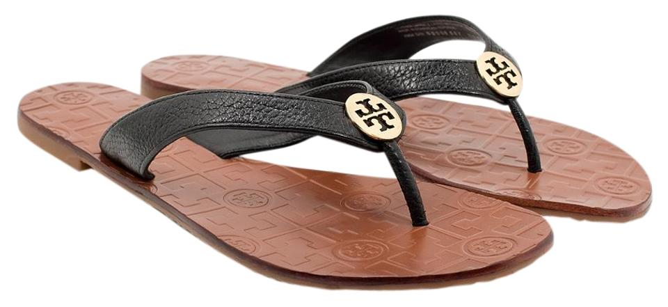 f3a5d7d35cc96 Tory Burch Black Gold Thora Tumbled Leather Thong Black Gold Sandals ...