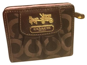 Coach COACH TWO-TONE BROWN SIGNATURE FABRIC GOLD-TONE CARRIAGE LOGO WALLET