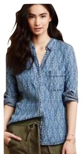 Anthropologie Denim Printed Button Down Shirt