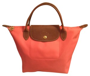 Longchamp Satchel in Coral/Brown/Gold