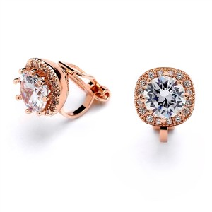 Mariell Rose Gold Cubic Zirconia Cushion Shape 10mm Halo Clip On Stud Earrings With Round Cut Solitaire 4556ec-rg