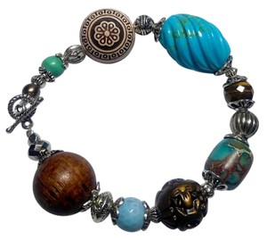 Other New Turquoise Gemstone Bracelet Silver Tone J2888