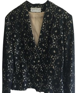 Evan Picone Black lace over cream Blazer