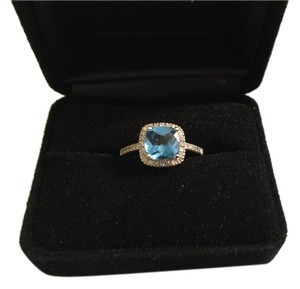 Macy's Blue Topaz 1-3/8 ct. t.w. & Diamond Ring in 10K White Gold