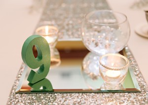 Mint Green Glitter Table Numbers