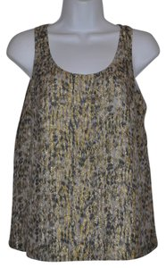 Broadway & Broome Metallic Madewell Designer Shell Ikat Top Gold