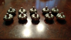 Pier 1 Imports Metal Silver 12 Pumpkin Placecard/Table Number Holders Centerpiece