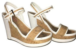 Prada Cork & White leather Wedges