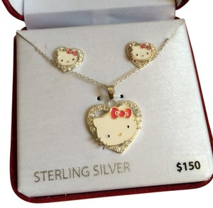 Sanrio NWT Hello Kitty Sterling Silver CZ Necklace Set