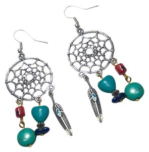 Other New Turquoise, Corral & Lapis Dream Catcher Earrings J2890