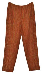 Sigrid Olsen Summer Haiku Striped Resort Silk Ankle Length Straight Pants Multi