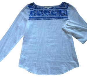 Ann Taylor LOFT Top White, blue