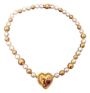 FARONE 18K DIAMOND AND RUBY HEART PENDANT WITH PEARL AND GOLD BEAD NECKLACE