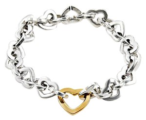 Tiffany & Co. Tiffany & Co 18K Yellow Gold Heart & Sterling Silver Bracelet 7