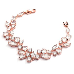 Mariell Rose Gold Mosaic Shaped Cz Wedding Bracelet In 14k Gold Plating - Petite Size 4129b-rg-6