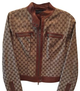 Gucci brown monogram Leather Jacket