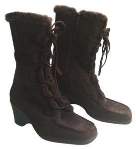 Aerosoles Faux Fur Suede Brown Boots