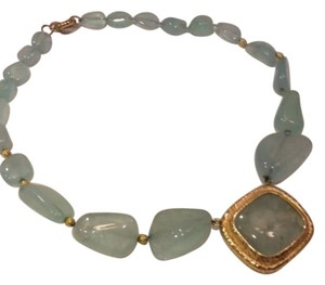 Fine Jewelry Vault FINE JEWELRY 14K HAMMERED GOLD AND AQUAMARINE STATEMENT NECKLACE