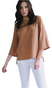 Julian Love Crochet Bell Sleeve 3/4 Sleeve Top Mocha