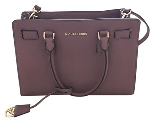 Michael Kors Leather Satchel in rose gold