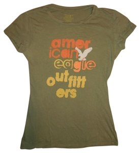 American Eagle Outfitters Worn-out Bohemian T Shirt Army Green, Orange, Yellow