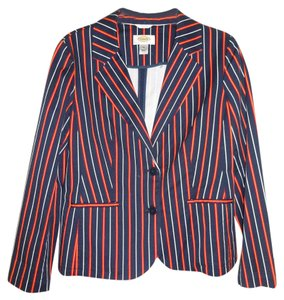 Talbots Orange/white Stripes Stretch navy Blazer