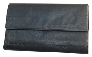 Pelle Studio Black Leather Organizer Wallet Checkbook Change ID 9 Credit Card Slots