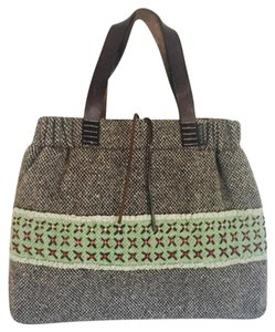 Orla Kiely Wool Leather Unique Rare Tote in Gray