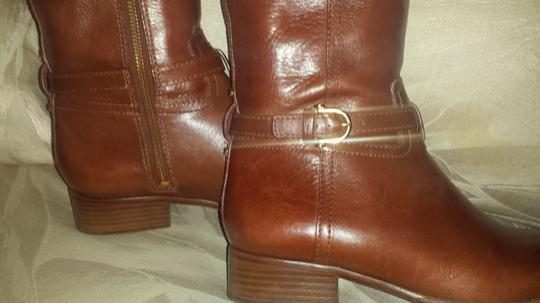 Tory Burch Nadine Equestrian Brown 1 Inch Heel Gold Hardware Nordstrom Exclusive Leather Monogram Sienna Boots