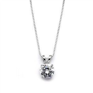 Mariell Delicate Cz Round-cut Necklace With Double Loop Top 2002n-s